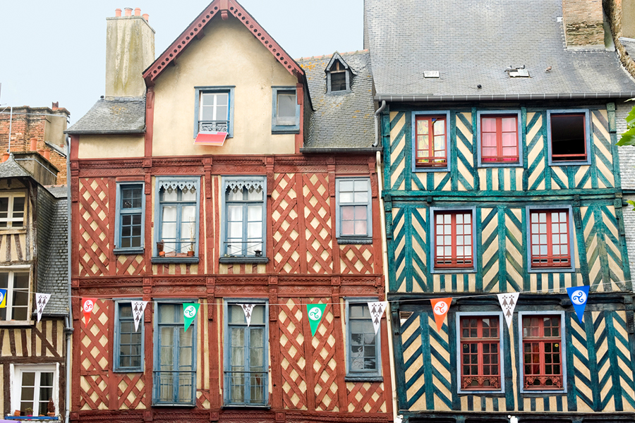 Rennes (Ille-et-Vilaine, Brittany, France) - Exterior of ancient half-timbered buildings