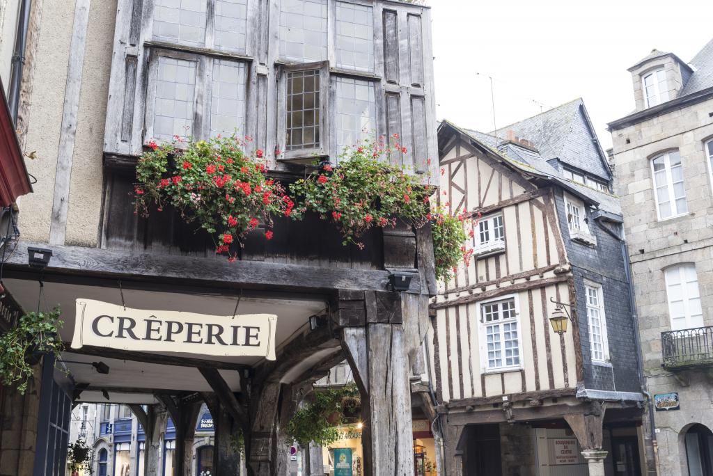 Devanture d'une crêperie, la spécialité de la région de Rennes, Bretagne
