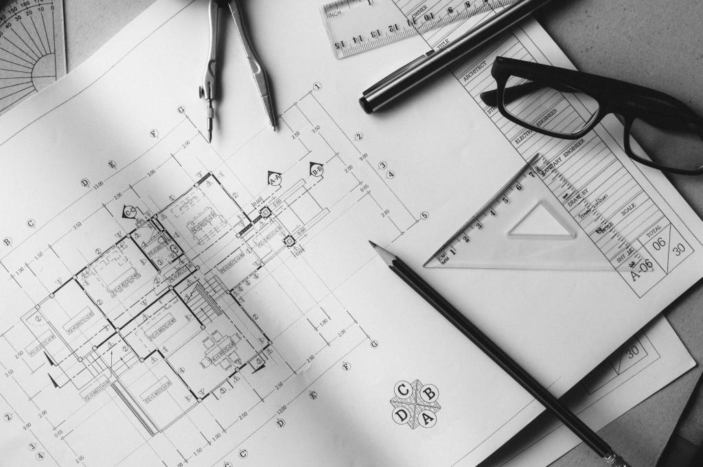 Plan de maison avec cotes avec outils de travail d'un architecte