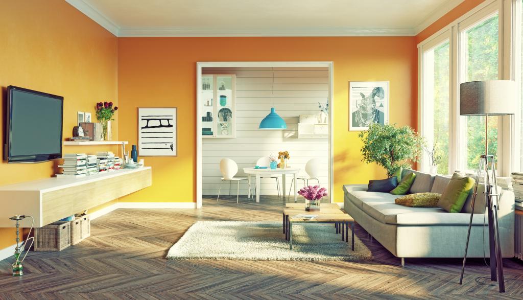 Logement avec décoration jaune