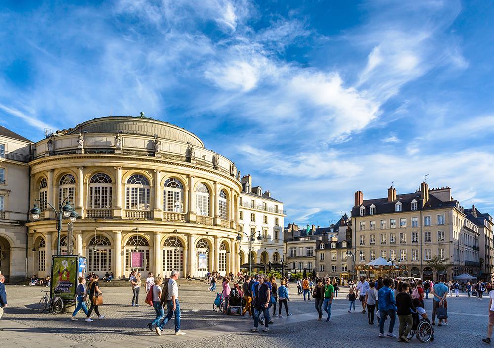 Photo du centre de Rennes et de son opéra