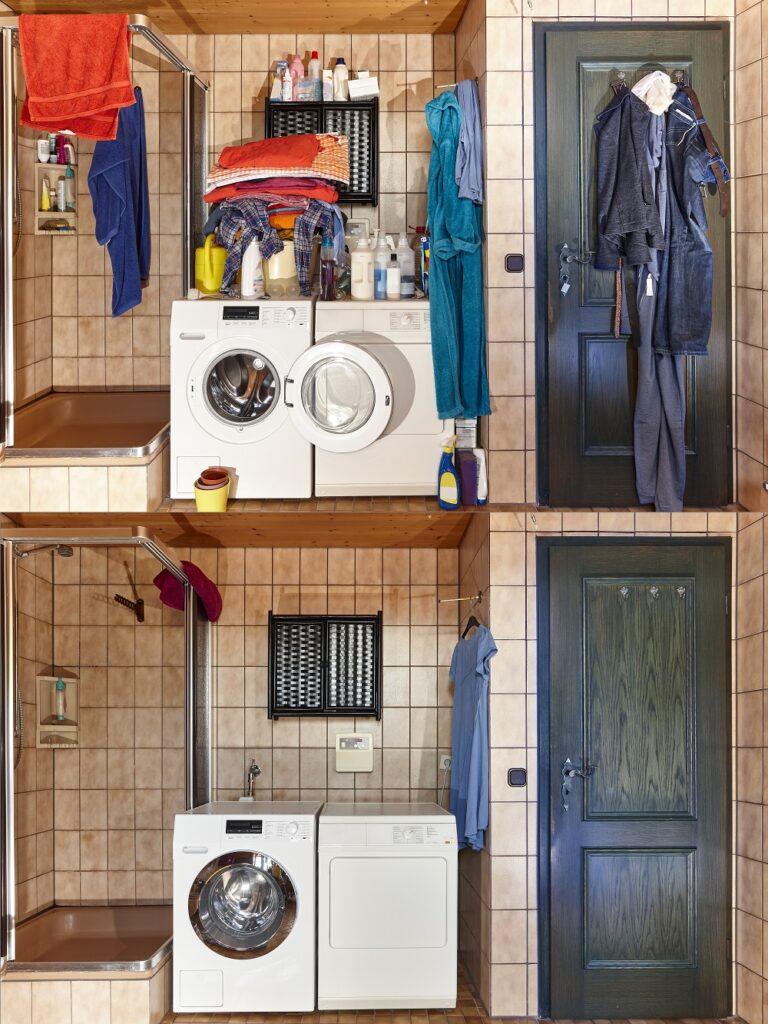 Montage comparaison salle de bain encombrée et salle de bain dépersonnalisée.