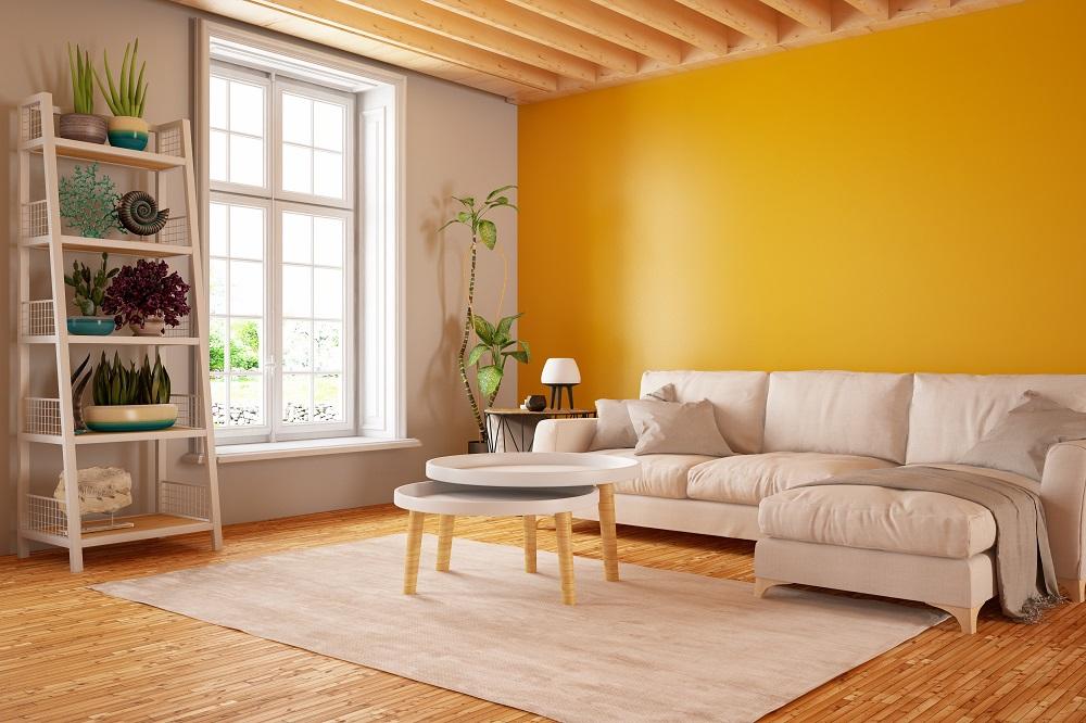 Salon d'une maison en bonne état et joliment décoré.